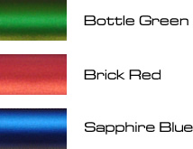 bottle green, brick red, saphire blue